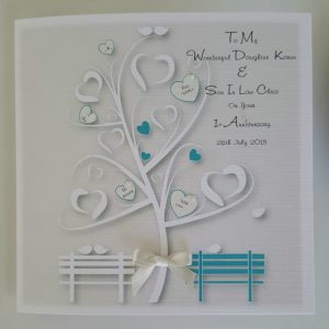 Personalised 1st Wedding Anniversary Card Daughter Son In Law Any Relation, Year Or Colour (SKU262)