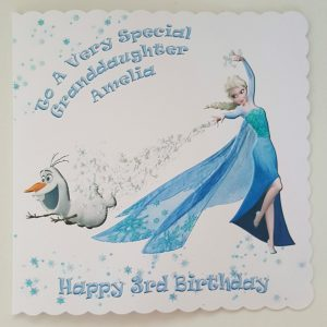 Personalised 3rd Birthday Card Frozen Elsa Olaf Grand Daughter Any Relation Or Age (SKU394)