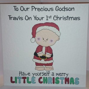 Personalised 1st Christmas Card Godson Grandson Son Nephew Any Relation (SKU445)