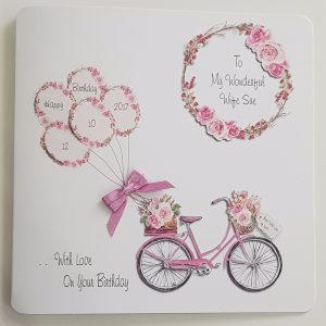 Personalised Birthday Card Bicycle Flowers Wife Any Relation Any Occasion