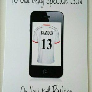 Personalised 13th Birthday Card iphone Football/Rugby Theme Son Any Relation Any Age Any Colour