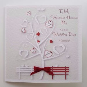 Personalised On Our Wedding Day Card Bride Husband To Be Ivory Burgundy Any Couple Any Colour