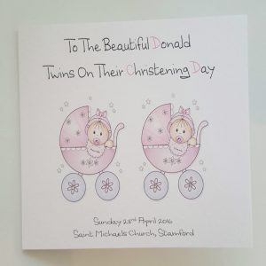 Personalised Card Twin Triplets Christening Day New Baby Girl or New Baby Boy