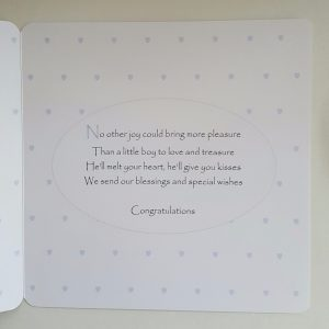 Personalised New Baby Card On The Arrival Of Your Baby Boy Any Relation (SKU386)